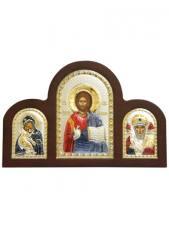 Владимирская Б.М., Спаситель, свт. Николай - триптих из посеребренных икон (с эмалью)