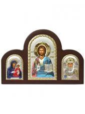 Иерусалимская Б.М. и Спас Премудрый - триптих из посеребренных икон (с эмалью)