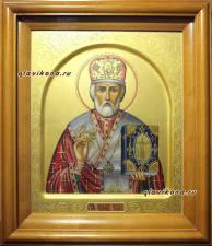икона Николая с резьбой в киоте