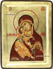 Икона Владимирская на дереве с поталью
