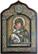 Владимисркая икона на бересте с камнями