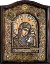Икона Казанская на бересте