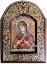 Икона Семистрельная, сделанная на бересте