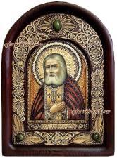 Святой Серафим, икона из бересты