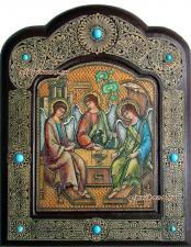 икона Троицы писанная на бересте