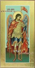 Архангел Михаил, икона ростовая с золочением и чеканкой на полях, артикул 6044