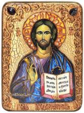 Икона  Господа под старину с натуральными камнями