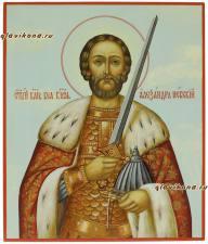 Рукописная икона Александра Невского