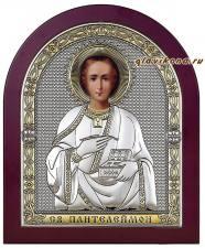 Пантелеймон, икона в серебре
