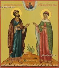 Икона Петр и Феврония в византийском стиле