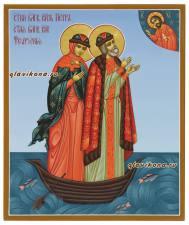 Образы святые Петра и Феврони, плывущие в лодке, артикул 820