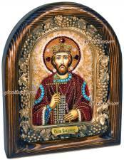 Икона святого князя Владимира сделанная из бисера
