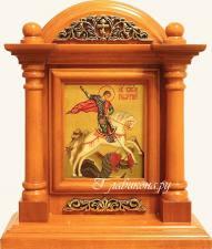 Георгий Победоносец, икона в киоте-подставке