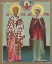 Святые Киприан и Иустина, писаная икона артикул 442