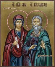 Симеон и Анна, рукописная икона с золочением