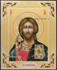 Вседержитель, рукописная икона (чеканка, золото, узоры), артикул 619