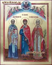 Писаная семейная икона с Покровом и Ангелами, артикул 4004
