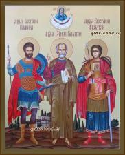 Семейная икона с тремя святыми и Покровом, артикул 4008