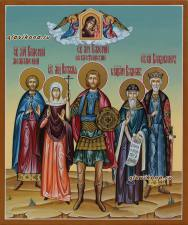 Семейная рукописная икона с 5-тью святыми, артикул 4005