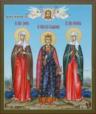 Семейная икона с тремя святыми, со Спасом и Ангелами, артикул 4009