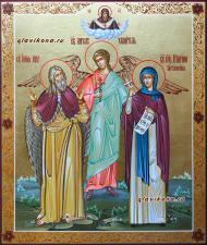 Семейная икона с двумя святыми и Ангелом Хранителем, артикул 4010