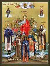 Писаная семейная икона с 7-ю святыми покровителями и Ангелом, артикул 4011