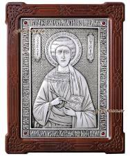 Целитель Пантелеимон, серебряная икона гальваническая, артикул 11135