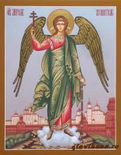 Писаная икона Ангела Хранителя в полный рост с пейзажем, артикул 701