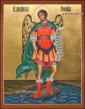Святой Архангел Рафаил, писаная икона на деревянной доске, артикул 258