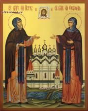 Святые Петр и Феврония в монашеских одеждах, икона рукописная, артикул 807