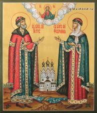Благоверные Петр и Феврония в княжеских одеждах, писаная икона с золочением