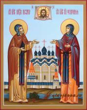 Муромские святые Петр и Феврония, писаная икона на деревянной доске, артикул 809