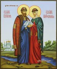 Святые Петр и Феврония (с голубями), писаная икона артикул 022