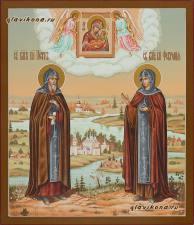 Благоверные муромские святые Петр и Феврония, писаная икона со сложным пейзажем на фоне, артикул 810