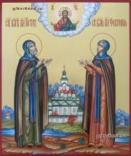 Петр и Феврония, писанная икона с пейзажем и золочением
