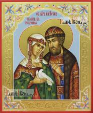Петр и Феврония, писаная икона оформленная резьбой, узорами и золочением
