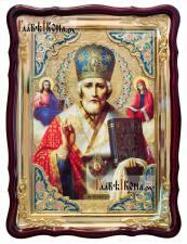 Святой НИколай Чудотворец (с предстоящими), храмовая икона 60х80 см
