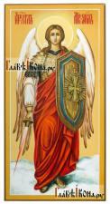 Святой Архангел Михаил, писанная икона с мечом, ростовой, артикул 6007