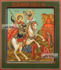 Великомученик Георгий Победоносец, писаная икона (палех), артикул 544