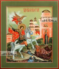 Великомученик Георгий, икона написанная темперой в стиле палеха