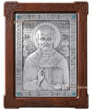Серебряная икона святого Николая Чудотворца, артикул 11147
