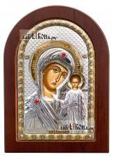 Казанская Божия Матерь, серебряная икона в деревянной рамке размер 10х14 см