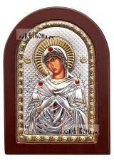 Семистрельная Божия Матерь, греческая серебряная икона, размер 10х14 см