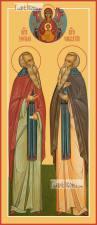 Зосима и Савватий Соловецкие, икона печатная, артикул 90346