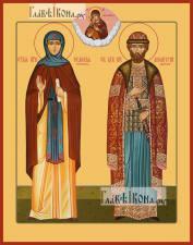 Евфросиния Московская и Димитрий Донской, икона печатная, артикул 90343