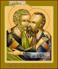 Петр и Павел апостолы (оплечные), икона печатная, артикул 90358