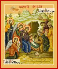 Рождество Христово (в палехском стиле), икона печатная, артикул 90367