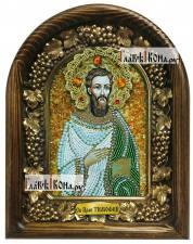 Тимофей апостол, праведный (Ефесский), дивеевская икона из бисера