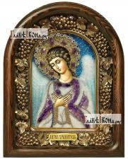 Ангел Хранитель (с фиолетовыми камнями), дивеевская икона из бисера