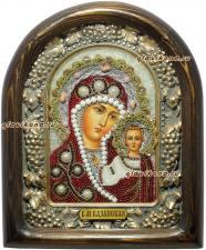 Икона Казанская, украшенная жемчугом
